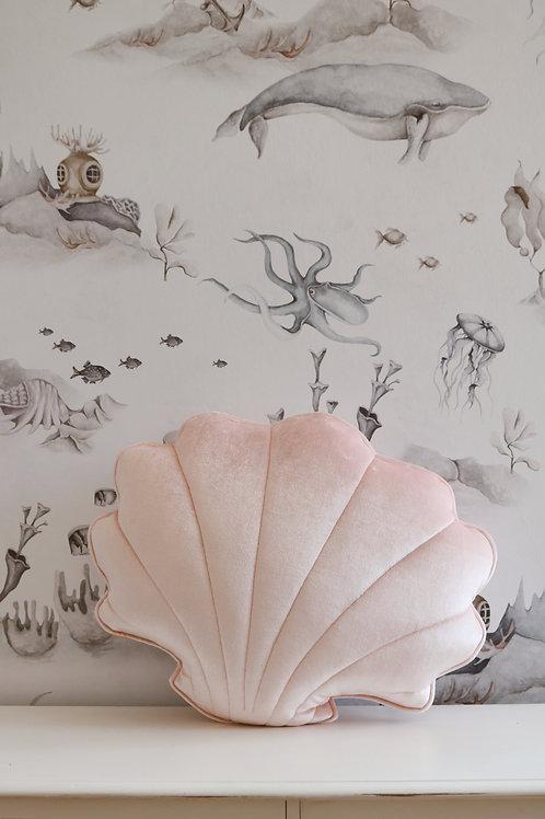 """Velvet shell cushion """"pink pearl"""""""