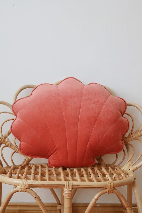 """Large velvet shell pillow """"Coral"""""""