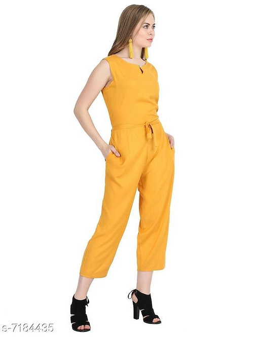 Arovi Yellow Color Rayon Fabric Regular Wear Jump Suit