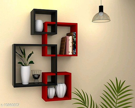 Wooden Wall Mounted Shelf Rack For Living Room Decor - set of 4