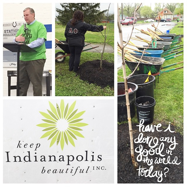 Planting trees at the Keep Indianapolis Beautiful Event.