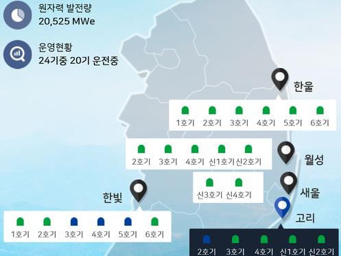 청주 방사광가속기와 핵원전의 위치