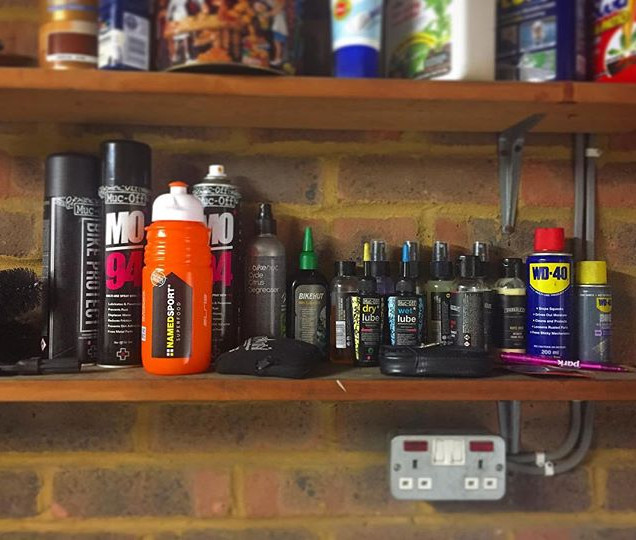 Quite proud of our little #maintenance shelf stocked with _mucoff and _crankaliciously bits and bobs, very handy with the new garage and gar