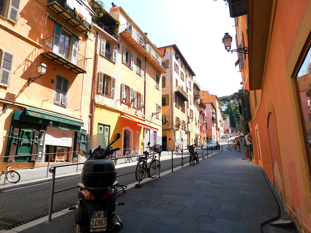 Yellow and orange street in Old Nice, France