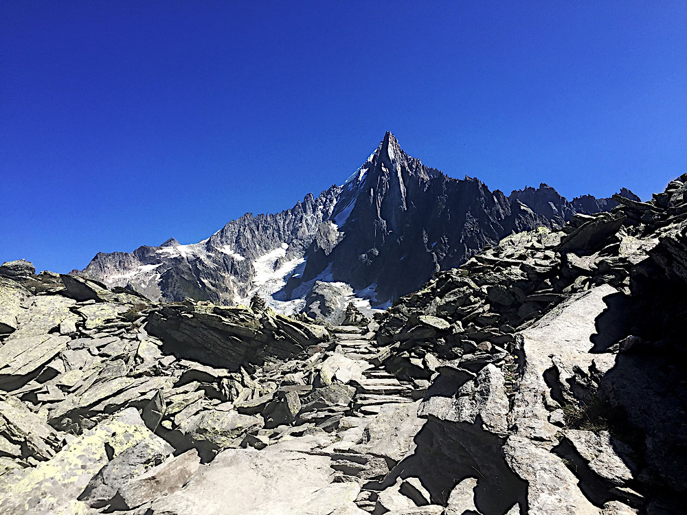 Pointy rock mountain with rock stairway on the Grand Balcon Nord hike in Chamonix France