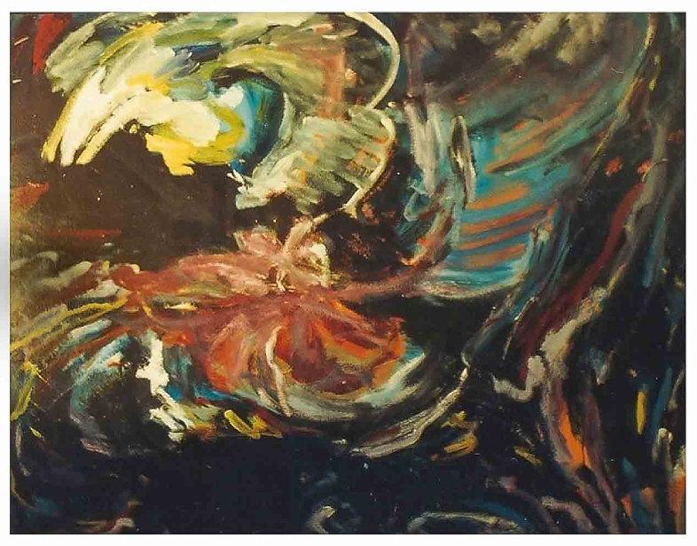 Paradijsvogel  165 x 135 cm. Olieverf op
