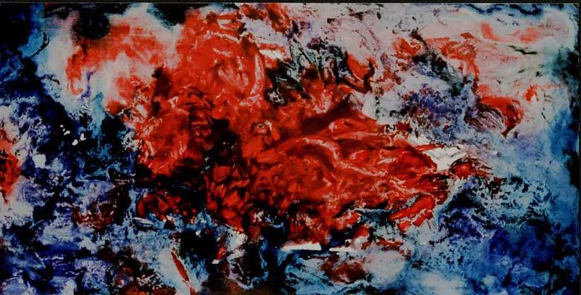 Sint Joris en draak 245 x 125 cm. Olieve