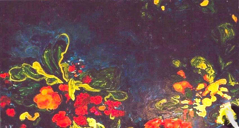 Dark Ocean Flower 200 x 100 cm Olieverf