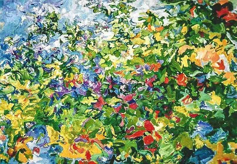 Kleurrijk blad 110 x 10 cm Olieverf op l
