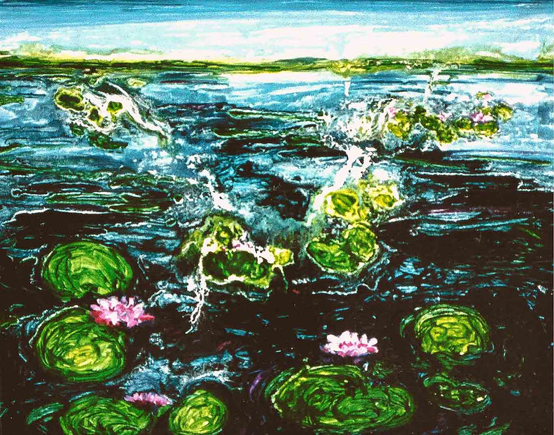 Streaming Lotus 110 x 100 cm   Olieverf
