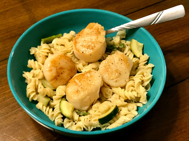 Scallops with Spring Vegetable Fusilli