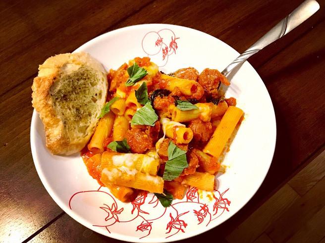 Andouille Sausage Pasta Marinara with Garlic Bread