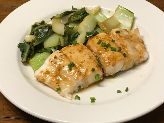 Asian Baked Halibut with Bok Choy