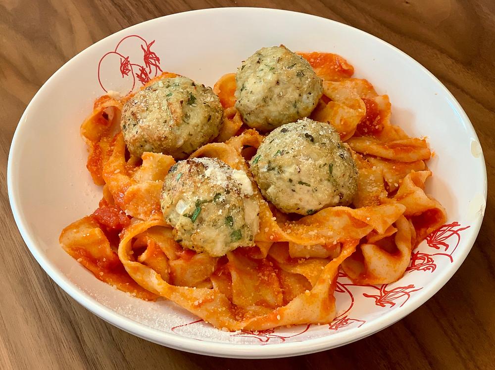 mozzarella pesto stuffed meatballs