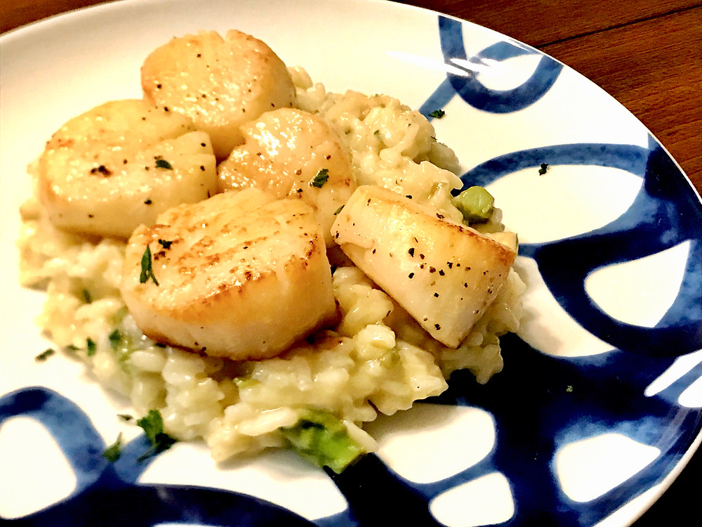 seared scallops with asparagus risotto