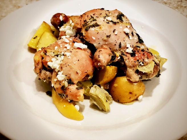 Greek Chicken, Artichoke & Baby Potato Roast