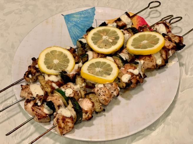 Caesar Marinated Chicken Kabobs with Zucchini