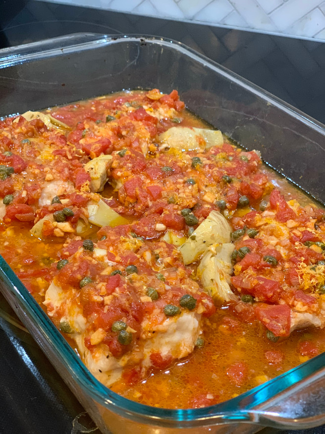 Mediterranean Baked Fish with Tomatoes & Capers