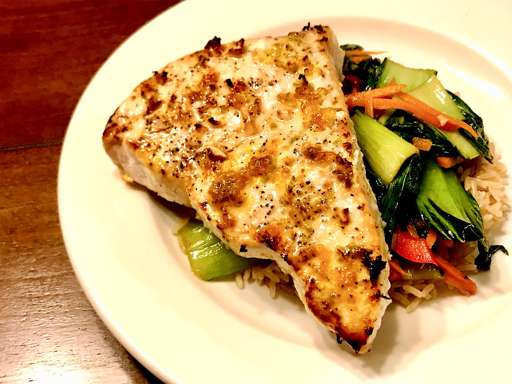 broiled swordfish with bok choy