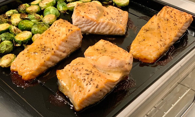 Air Broiled Honey Mustard Salmon & Brussel Sprouts