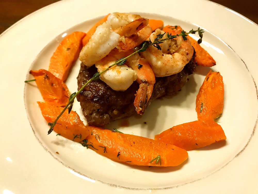 surf n' turf top sirloin with shrimp