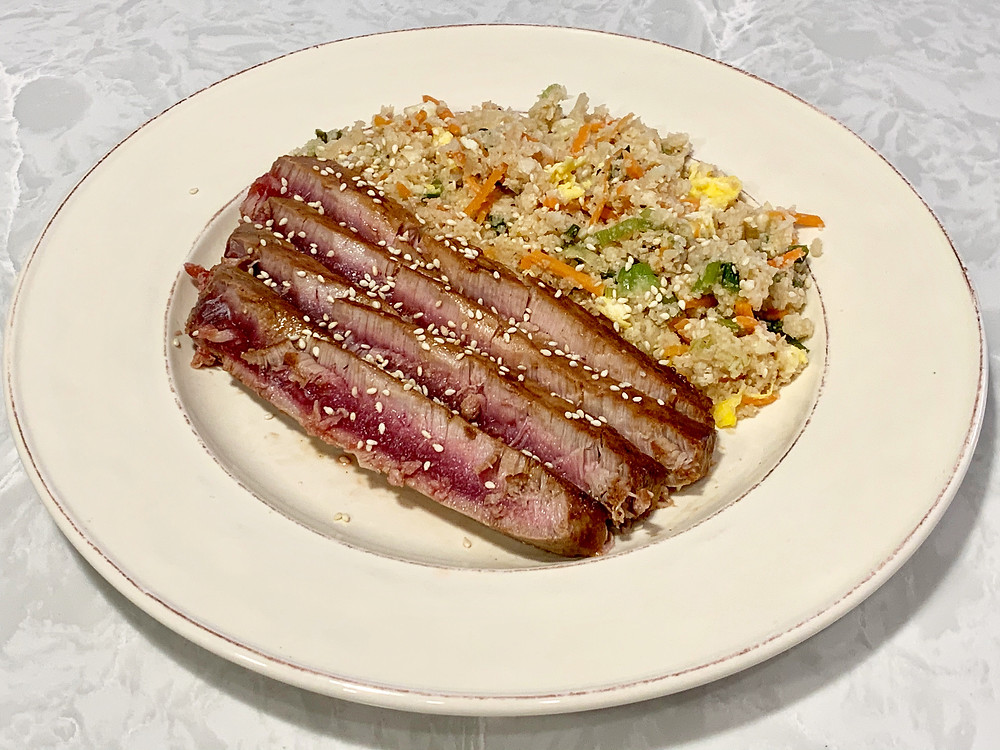 tuna steak with cauliflower fried rice