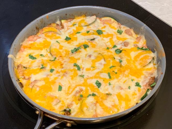 Zucchini & Ground Beef Enchilada Skillet