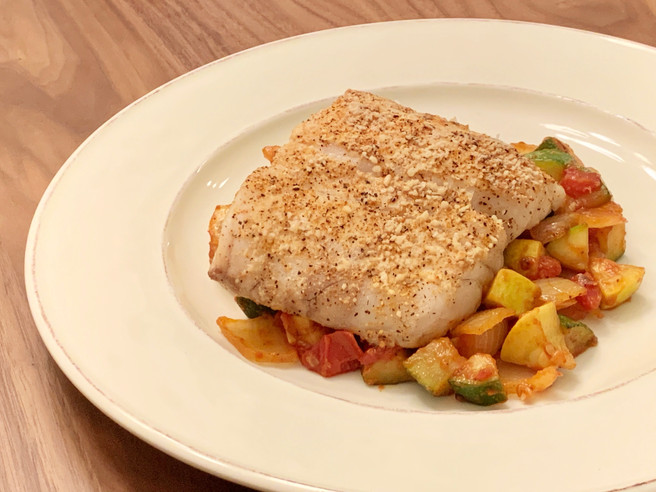 Cajun Tripletail Fish with Zucchini Medley