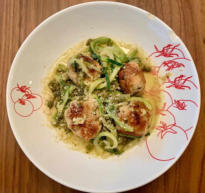 Chicken Piccata Meatballs with Zucchini Noodles