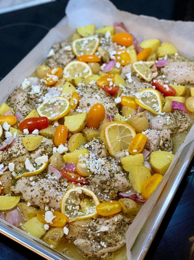 Greek Sheet Pan Chicken & Lemon Veggies
