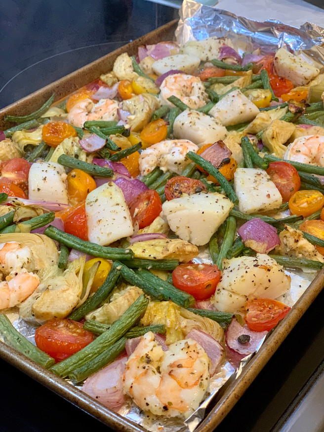 Mediterranean Shrimp & Scallop Sheet Pan Dinner