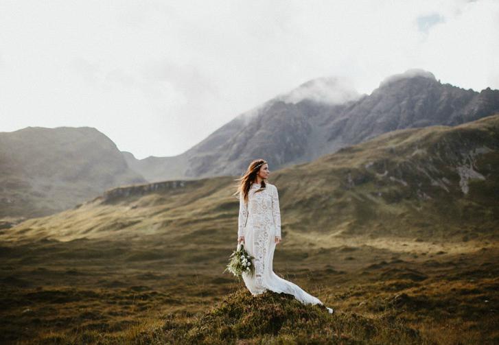 white meadow Mountains wedding, winter wedding dress,