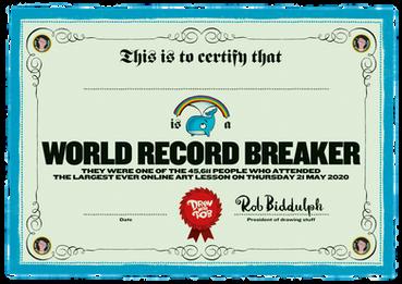 World Record Breaker Certificate