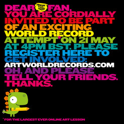 #DrawWithRob and thousands of people have already registered to break the record for world's LARGEST EVER online art lesson. Register at www.artworldrecords.com so you count too! Lesson starts 4pm on the 21st May! Access the live streamed lesson at  https://www.youtube.com/watch?v=OSUN5vR4QZY