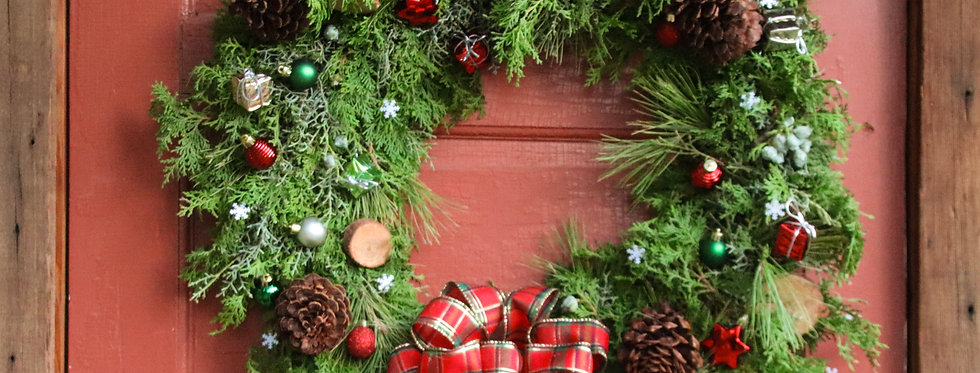 Green, Red and Gold Accent Holiday Wreath