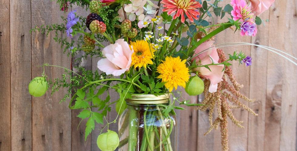 Just Right - Plus Mason Jar Bouquet (22-25 stems)