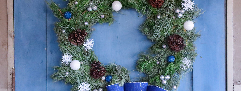 Blue White and Silver Accent Holiday Wreath