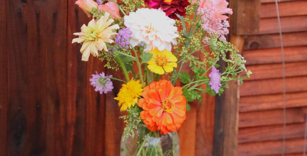 Sweet Petite Mason Jar Bouquet  (14-17 stems)
