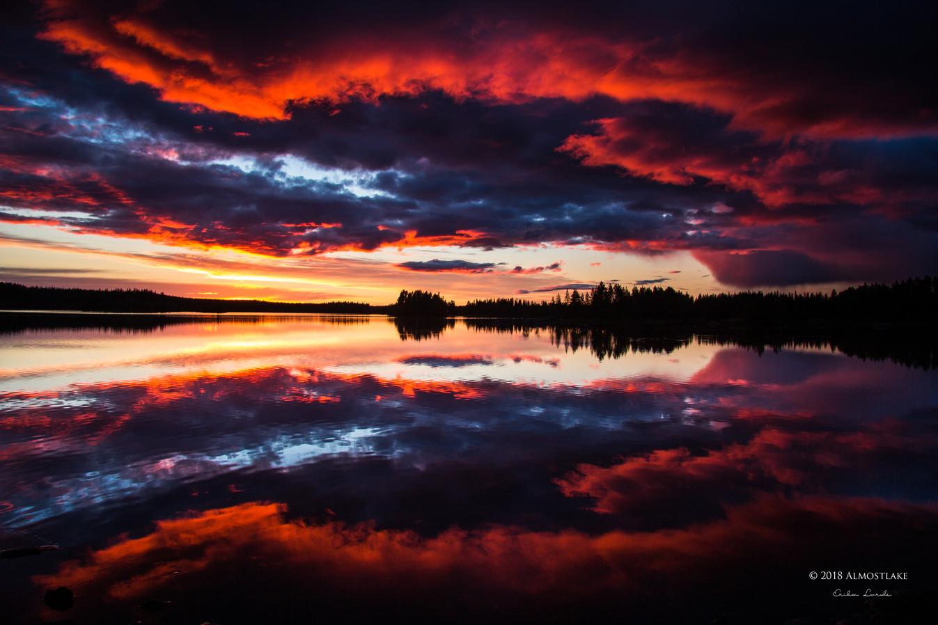 Solnedgång över Malgomaj