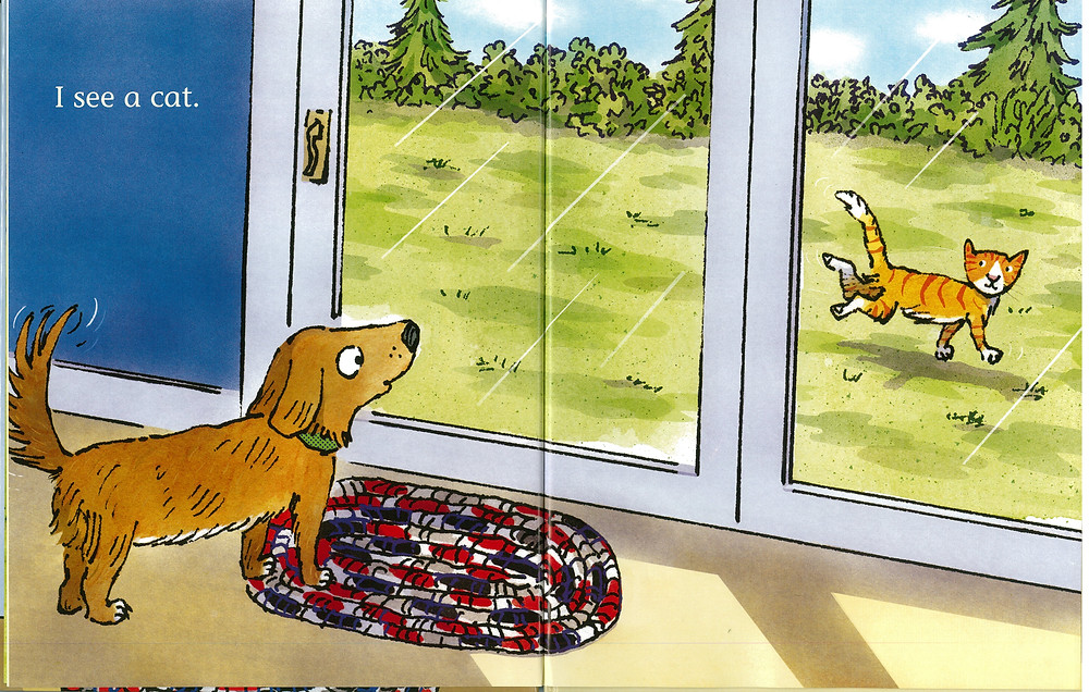 "Words ""I see a cat"" A cartoon dog looks through a glass door at a cat."