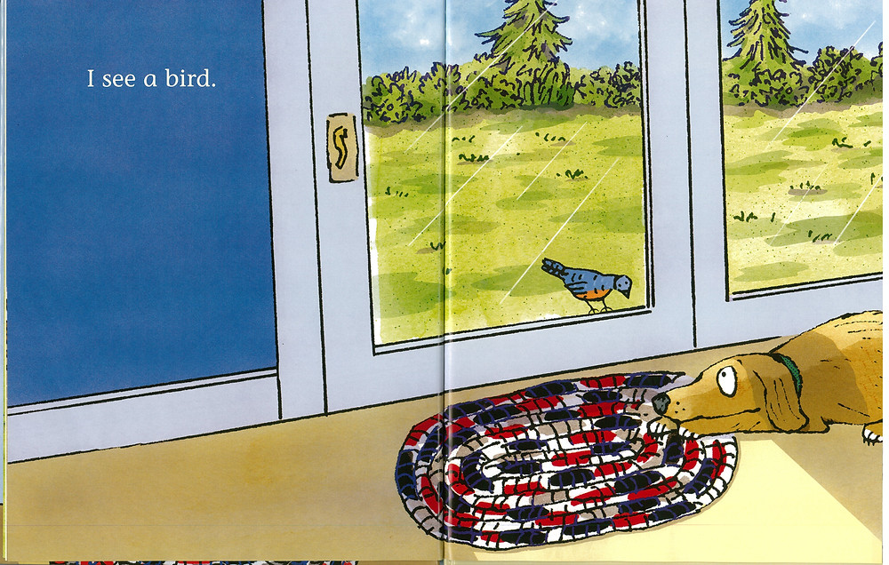 "Words ""I see a bird."" A cartoon dog looks through a glass door at a bird."