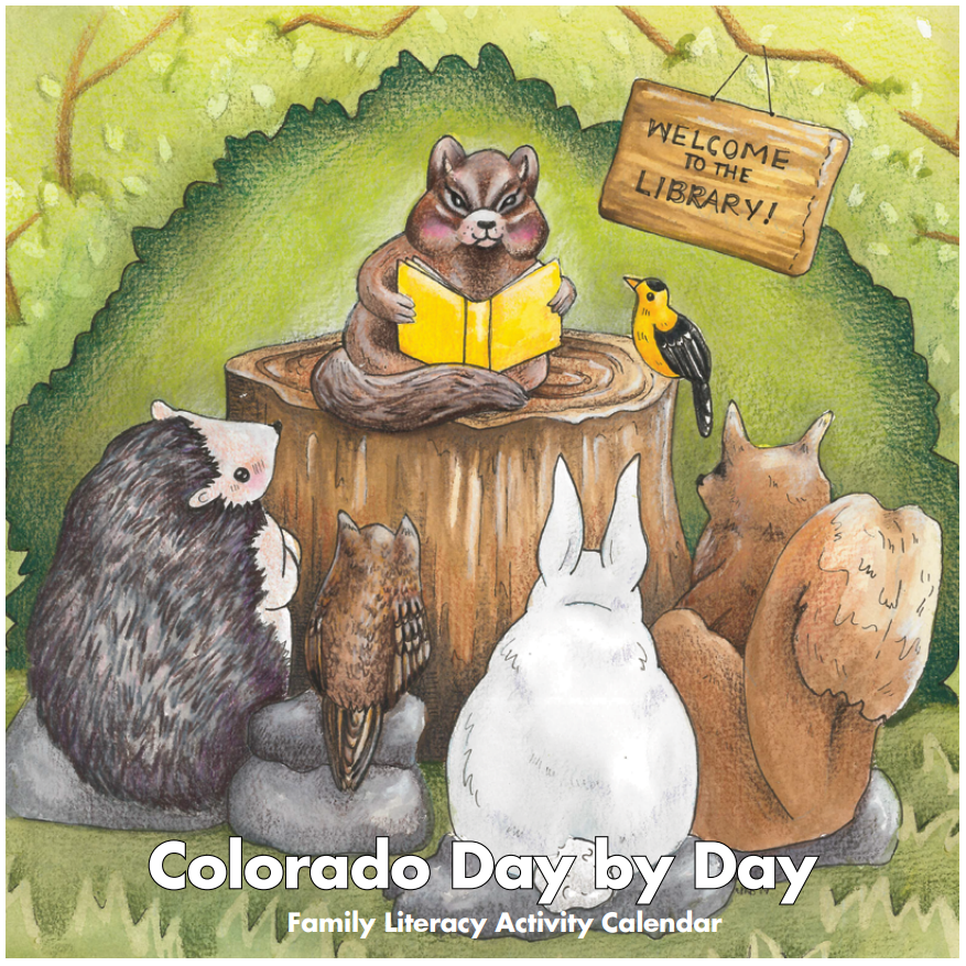 Cover of Colorado Day by Day Calendar shows a chipmunk reading a book to other woodland animals.