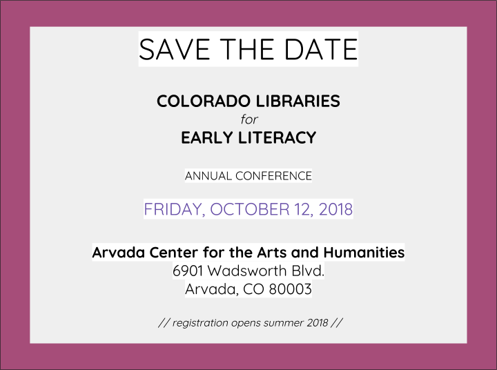 Save the Date, CLEL annual conference, Friday 10/12/18, Arvada