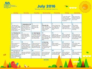 July Early Literacy Activity Calendar