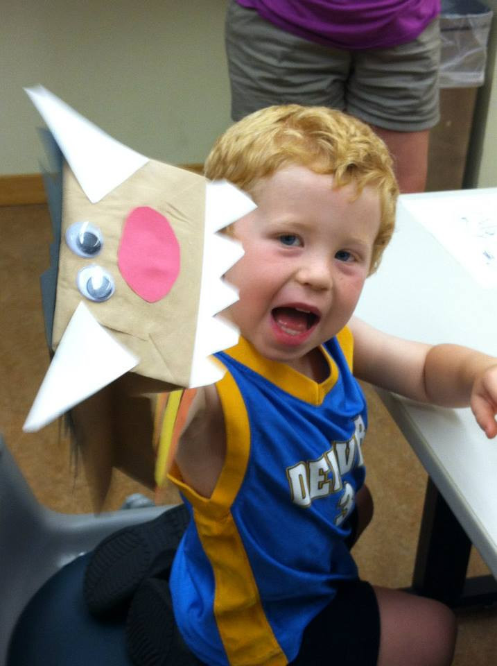 Boy and Paper Bag Puppet