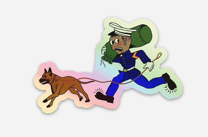 Holographic Marine and Malinois sticker