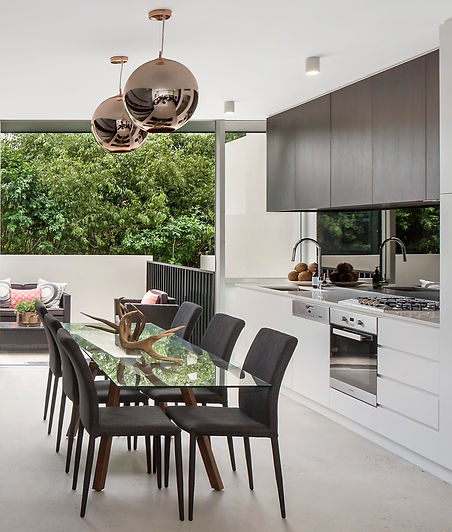 Brand new kitchen, living room and outdoor area for the new luxurious townhouses in Bronte Sydney. Constructed by Orishon Projects and Ron Efrat.