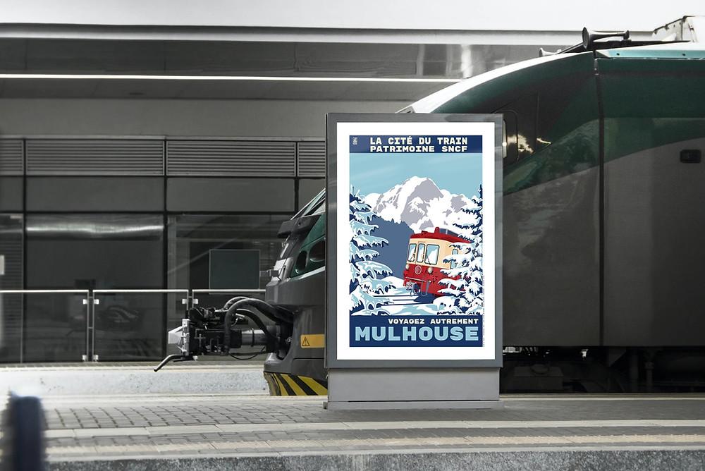 Cité du Train, Patrimoine SNCF, Mulhouse, Affiche, Hiver, Collectif 2920g