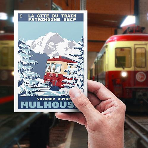 """Carte postale vintage """"Hiver 2020"""", Cité du Train - ©Collectif 2920g"""