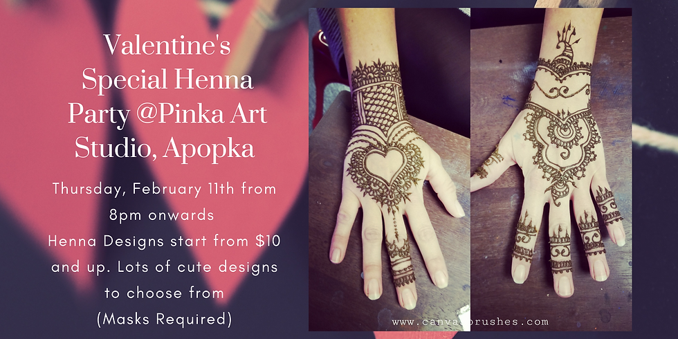 Valentine's Special Henna Party @Pinka Art Studio,  Apopka